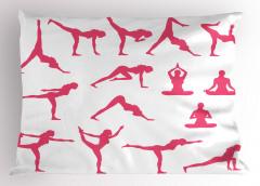 Yoga Hareketleri Deseni Yastık Kılıfı Pembe Spor