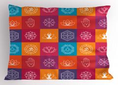 Mandala ve Yoga Yastık Kılıfı Lotus Mor Turuncu