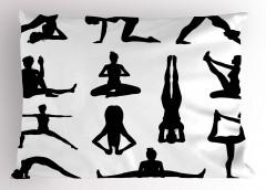 Yoga Pozisyonları Yastık Kılıfı Siyah Beyaz Sağlık