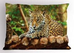 Ormandaki Leopar Yastık Kılıfı Vahşi Doğa Yeşil