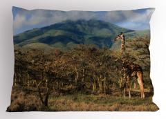 Ormandaki Zürafa Yastık Kılıfı Dağ Doğa Yeşil