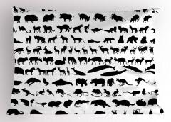 Siyah Beyaz Hayvanlar Yastık Kılıfı Keçi Balık