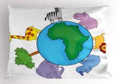 Dünya Hayvanları Yastık Kılıfı Mor Mavi Yeşil