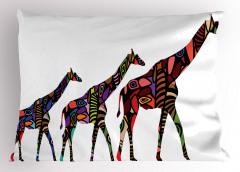 Rengarenk Zürafa Yastık Kılıfı Hayvan Dekoratif