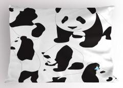 Sevimli Pandalar Yastık Kılıfı Siyah Beyaz Hayvan