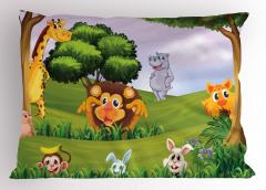 Orman Hayvanları Yastık Kılıfı Aslan Zürafa Maymun