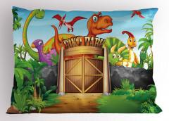 Dinozor Parkı Yastık Kılıfı Yeşil Hayvan Doğa