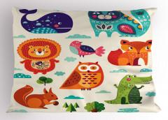 Şirin Hayvanlar Desenli Yastık Kılıfı Sincap Timsah