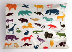 Hayvanlı Desen Yastık Kılıfı Rengarenk Fil Zürafa