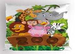 Hayvanat Bahçesi Yastık Kılıfı Fil Zürafa Aslan
