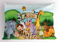 Hayvanat Bahçesi Deseni Yastık Kılıfı Zürafa Fil Ağaç