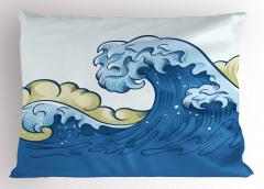 Dev Dalgalar Desenli Yastık Kılıfı Mavi Deniz Şık