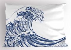 Kanagawa Dalgası Yastık Kılıfı Mavi Beyaz Deniz