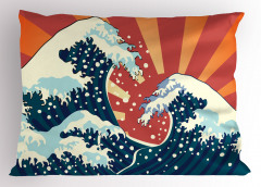Japon Dalgası Yastık Kılıfı Mavi Lacivert Deniz