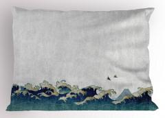 Kuşlar ve Dalgalar Yastık Kılıfı Mavi Deniz Japon