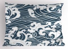 Mavi Beyaz Dalgalar Yastık Kılıfı Deniz Okyanus