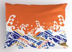 Beyaz Mavi Dalgalar Yastık Kılıfı Turuncu Deniz