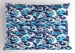 Mavili Beyazlı Dalgalar Yastık Kılıfı Deniz Okyanus