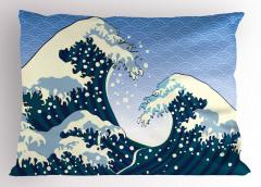 Mavi Dev Dalgalar Yastık Kılıfı Beyaz Okyanus