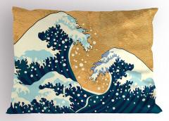Dev Dalga Desenli Yastık Kılıfı Mavi Beyaz Deniz