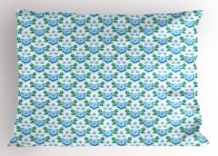 Mavi Gül Desenli Yastık Kılıfı Yaprak Dekoratif