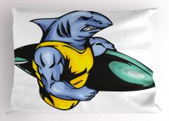 Sörfçü Köpek Balığı Yastık Kılıfı Mavi Sarı Deniz