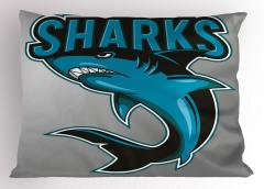 Mavi Köpek Balığı Yastık Kılıfı Deniz Hayvan