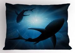 Dalgıç Köpek Balığı Yastık Kılıfı Mavi Deniz Şık
