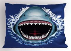 Vahşi Köpek Balığı Yastık Kılıfı Mavi Beyaz Deniz