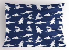 Beyaz Köpek Balıkları Yastık Kılıfı Mavi Deniz Hayvan