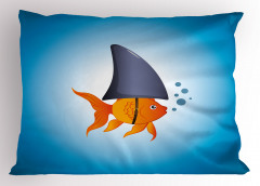 Sarı Köpek Balığı Yastık Kılıfı Mavi Deniz