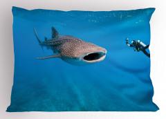 Dalgıç ve Balık Yastık Kılıfı Mavi Okyanus Deniz