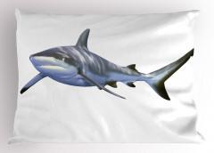 Köpek Balığı Desenli Yastık Kılıfı Gri Beyaz Fonlu