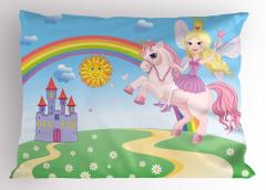 Masal Atı ve Prenses Yastık Kılıfı Şato Gökkuşağı