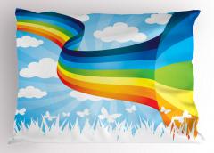 Gökkuşağı ve Bulutlar Yastık Kılıfı Beyaz Kelebekler
