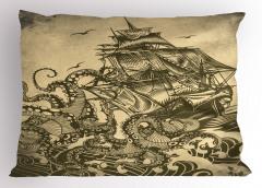 Dev Ahtapot Desenli Yastık Kılıfı Sarı