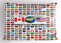 Dünya Bayrakları Desenli Yastık Kılıfı Rengarenk