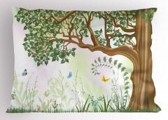 Yeşil Ağaç ve Kelebekler Yastık Kılıfı Doğa Dekoratif
