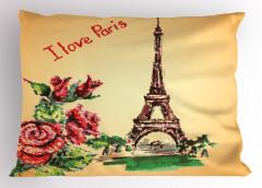 Eyfel Kulesi Manzaralı Yastık Kılıfı Romantik Güller