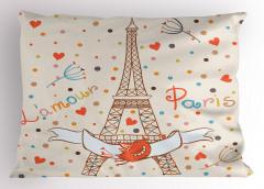 Eyfel'de Romantizm Temalı Yastık Kılıfı Paris ve Aşk