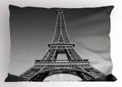 Eyfel Kulesi Manzaralı Yastık Kılıfı Siyah Beyaz