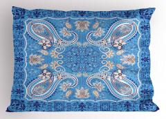 Mavi Çiçek Temalı Yastık Kılıfı Şal Desenli Otantik