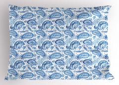 Mavi Beyaz Çiçekli Yastık Kılıfı Şal Desenli Çeyizlik