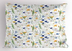 Kır Çiçekleri Desenli Yastık Kılıfı Bahar Temalı