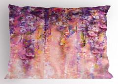 Mor Çiçek Desenli Yastık Kılıfı Bahar Temalı Çeyizlik