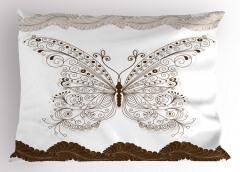 Nostaljik Kelebek Desenli Yastık Kılıfı Çeyizlik