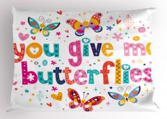 Kelebekli Eğlenceli Yastık Kılıfı Rengarenk