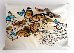 Romantik Kelebek Desenli Yastık Kılıfı Çeyizlik Mavi
