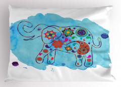 Fil Desenli Yastık Kılıfı Mavi Sulu Boya Fonlu Çiçek