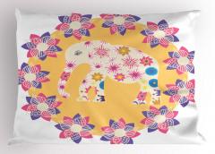 Çiçek ve Fil Desenli Yastık Kılıfı Rengarenk Sevimli
